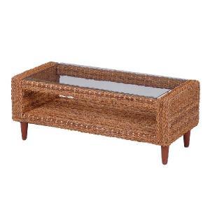GLANZ アバカ素材W100ガラスローテーブル[ナチュラル]《W:100×D:45×H:39》アジアン家具 アジアン リゾート テーブル ローテ|wanon333