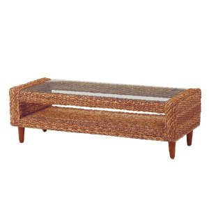 GLANZ アバカ素材W120ガラスローテーブル[ナチュラル]《W:120×D:50×H:39》アジアン家具 アジアン リゾート テーブル ローテ|wanon333