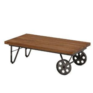 LIBERTA 車輪型キャスター付きローテーブル《W:110×D:60×H:35》インダストリアル 家具 送料無料 北欧 レトロ シャビー シンプル