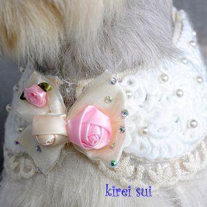 犬のアクセサリー【クリスタルパールウエディング ネックレス】|wanwan3dogs