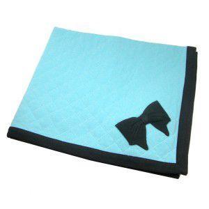 犬のブランケット【Coco Bow Aqua】キルト/ペット用ブランケット/マット/リボン/ラフラフクチュール|wanwan3dogs