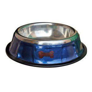 犬の食器【Blue Bowl with Brown Bones】ペットボウル/お食事用品/生活用品/犬 ボウル/ステンレス/小型犬/中型犬|wanwan3dogs