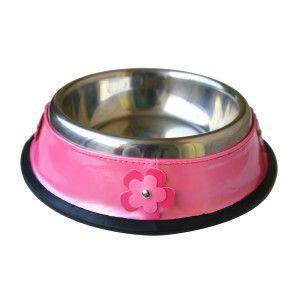 犬の食器【Pink Bowl with Hot Pink Flowers】ペットボウル/お食事用品/生活用品/犬 ボウル/ステンレス/小型犬/中型犬|wanwan3dogs