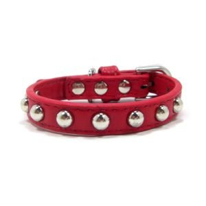 犬の首輪【Red silver stud】スタッズカラー/ペット用首輪/お散歩犬グッズ/犬 首輪|wanwan3dogs