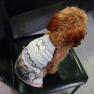 犬のワンピース【Green camo mini】クラウン/ラインストーン/カモフラージュ/迷彩柄/ヒップドギー/犬服|wanwan3dogs