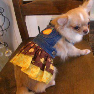 犬のデニムスカート【Yellow leaf】犬服/犬の洋服/ペット服/ドッグウェア|wanwan3dogs