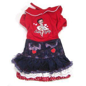 犬のデニムドレス【BETTY BOOP Lace Heart】犬のデニムスカート/パフスリーブドレス/レトロ/ベティちゃん/ベティグッズ/犬服|wanwan3dogs