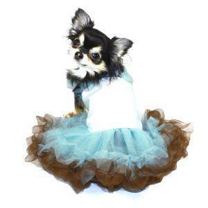 犬のドレス【Blue and Brown Tutu】ワンピース/フリフリ/スカート/チュチュ/犬服|wanwan3dogs