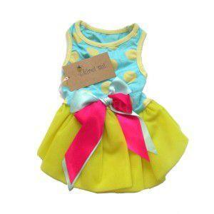 犬のドレス【Light Blue Yellow Polka Dots パーティードレス】犬服/犬の洋服/ペット服/ドッグウェア|wanwan3dogs