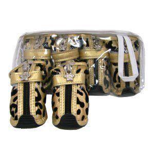 犬の靴【Gold Leopard】犬用ブーツ/犬 靴/ペット靴/ゴム底/犬グッズ/お散歩犬用品|wanwan3dogs