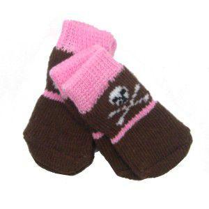 犬の靴下【Pink and Brown Skull Doggy Socks】犬用ソックス/スカルグッズ/ドクロ|wanwan3dogs