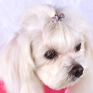 犬のヘアーアクセサリー【ヘアークリップ-ハーフムーン】ペットアクセサリー/ラインストーン/犬グッズ/犬用品 wanwan3dogs
