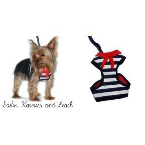 海辺をお散歩したくなるマリンボーダーペットハ−ネス♪犬のハーネスとリードのセット【Easy Go Sailor_ネイビー】胴輪/お散歩犬用品|wanwan3dogs|05