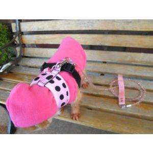 犬のハーネス【Pink Dots】ドット柄 wanwan3dogs 06