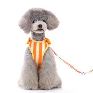 犬のハーネスとリードのセット【Easy Go Sweet Flower】ストライプ ハーネス/ペット用ハーネス/胴輪/お散歩犬用品|wanwan3dogs