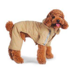 犬のジャンプスーツ【Bomber Jumper_ベージュ】犬のコート/犬のつなぎ/犬のカバーオール/犬服/犬の洋服/ペット服 wanwan3dogs