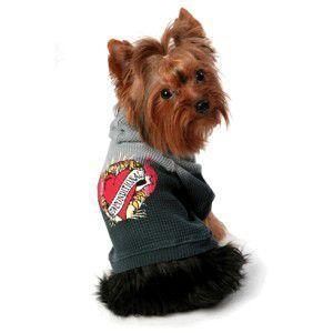【いぬもん掲載】K9DUDS/パンクロックな犬のサーマルパーカー【Unconditional LOVE_ブラック】おそろいのベビー服有/犬服/犬の洋服|wanwan3dogs