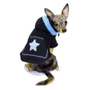 イヤーマフが可愛い犬のパーカー【Blue Earmuff】スウェット地/ヒップドギー|wanwan3dogs