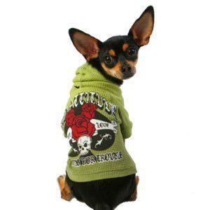 ロックな犬のサーマルパーカー【Bad Attitude】スカルグッズ/K9DUDS/犬服/犬の洋服/ペット服|wanwan3dogs