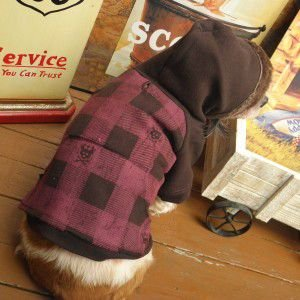 犬のパーカー【Lumberchic Brown】スカルグッズ/ブロックチェック柄/犬服/犬の洋服/ペット服|wanwan3dogs