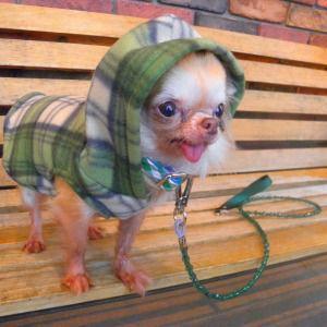 犬のフリースパーカー【Green Plaid Polar】グリーンチェック/ペットのフリースパーカー/犬服/犬の洋服/ペット服|wanwan3dogs