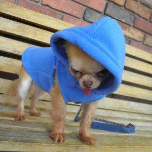 犬のパーカー【GOOBY オリジナル フリース ベストパーカー_ブルー】シンプルな無地/ネームタグ付き/リード取り付け可能/犬 服/犬 フリース|wanwan3dogs