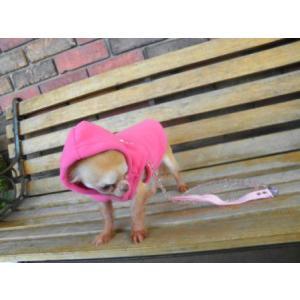 犬のパーカー【GOOBY オリジナル フリース ベストパーカー_ピンク】シンプルな無地/ネームタグ付き/リード取り付け可能/犬 服/犬 フリース|wanwan3dogs|02