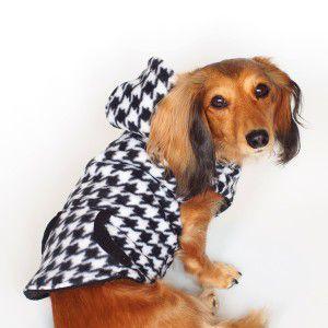 犬のリバーシブルフリースパーカー【Houndstooth】千鳥格子/リード取り付け可/犬服/ペット フリース|wanwan3dogs