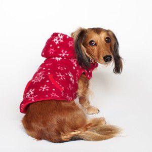 犬のリバーシブルフリースパーカー【Snowflake】雪柄/雪の結晶/冬/リード取り付け可/犬服/ペット フリース|wanwan3dogs