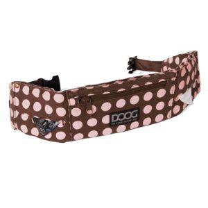 【DOOG ウォーキーベルト チョコレート×ピンクドット】犬 アウトドア用品/ウエストバッグ/ヒップバッグ/うんち袋、ウェットティッシュセット/リード装着可能|wanwan3dogs