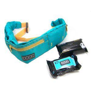 【DOOG ウォーキーベルト アクアブルー】犬 アウトドア用品/ウエストバッグ/ヒップバッグ/うんち袋、ウェットティッシュセット/リード装着可能|wanwan3dogs
