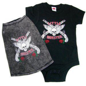 ロックなベビー服のロンパースと犬用タンクトップのペアセット【Little Monster】子供服/K9DUDS/ギフト/プレゼント wanwan3dogs
