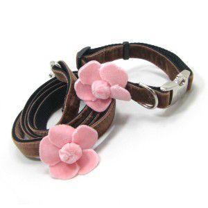 チャームプレゼント付♪犬の首輪とリードのセット【Camellia Pink Flower】カメリア/椿/ベルベット/ビロード/Sサイズ|wanwan3dogs