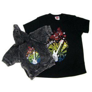 ロックな子供服のTシャツと犬用パーカーのセット【Peace & Love】キッズ服/K9DUDS/ギフト/プレゼント wanwan3dogs
