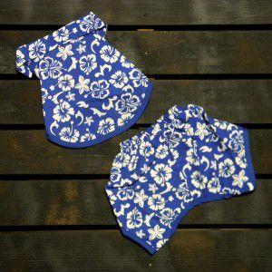SALE50%OFF【Puppine掲載】犬のアロハシャツ【Blue ハワイアン】シャツとパンツのサマーセット♪犬服/犬の洋服/ペット服/夏|wanwan3dogs