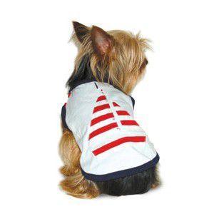 犬のタンクトップ【Sailboat タンク】ボーダーヨットの夏服♪犬服/犬の洋服/ペット服/ラインストーン|wanwan3dogs