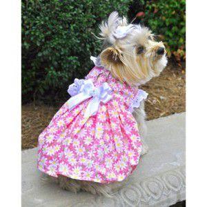 犬のドレス【Pink Daisy Flower ガーデンドレス】サマードレス/夏服/足や頭を通さない簡単マジックタイプのハーネス|wanwan3dogs