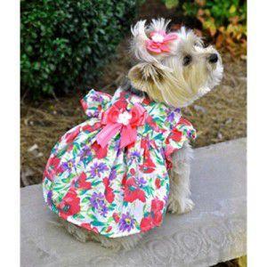 犬のドレス【Fuchsia Flower ガーデンドレス】サマードレス/夏服/足や頭を通さない簡単マジックタイプのハーネス|wanwan3dogs