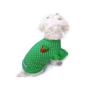 グリーンドット柄が鮮やかな犬のTシャツ【Green polka dot】フリフリ付/苺アクセサリー付/犬服/犬の洋服/ペット服|wanwan3dogs|02