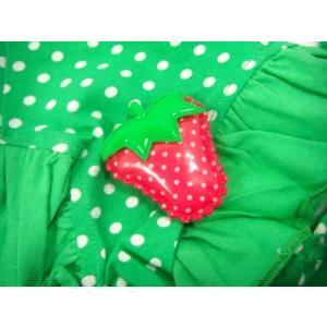 グリーンドット柄が鮮やかな犬のTシャツ【Green polka dot】フリフリ付/苺アクセサリー付/犬服/犬の洋服/ペット服|wanwan3dogs|03