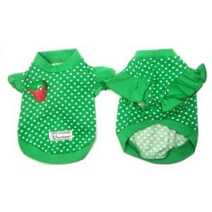 グリーンドット柄が鮮やかな犬のTシャツ【Green polka dot】フリフリ付/苺アクセサリー付/犬服/犬の洋服/ペット服|wanwan3dogs|04