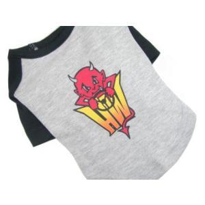 ロックな犬のラグランTシャツ【Lil Devil】ファイアパターン/犬服/犬の洋服/ペット服|wanwan3dogs|02