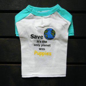 お肌に優しいオーガニックコットン/犬のTシャツ【Save The Earth】犬服/犬の洋服/ペット服 wanwan3dogs