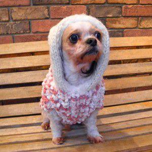 犬のセーター【ふわふわパフセーター_ピンク】手編みセーター/犬のニット/ペットセーター/犬服/犬の洋服|wanwan3dogs