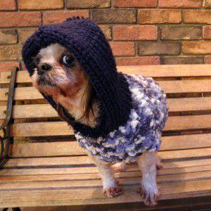 犬のセーター【ふわふわパフセーター_ネイビー】手編みセーター/犬のニット/ペットセーター/犬服/犬の洋服|wanwan3dogs