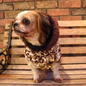 犬のセーター【ふわふわパフセーター_ブラウン】手編みセーター/犬のニット/ペットセーター/犬服/犬の洋服|wanwan3dogs
