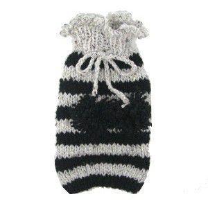 犬のセーター【Bon Bon ボーダーセーター_ブラック】手編みセーター/犬のニット/ペットセーター/犬服/犬の洋服|wanwan3dogs