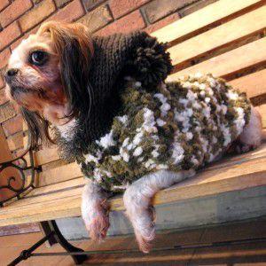 犬のセーター【ふわふわパフセーター_グリーン】手編みセーター/犬のニット/ペットセーター/犬服/犬の洋服|wanwan3dogs