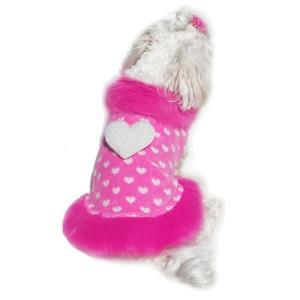 ハートだらけの可愛い犬のコート【Pink heart ファーコート】犬用コート/ペットのコート/犬服/犬の洋服|wanwan3dogs