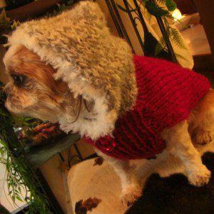 送料無料♪犬のセーター【ベアレッド_スパンコールフードセーター】手編みセーター/犬のニット/ペットセーター/犬服/犬の洋服|wanwan3dogs